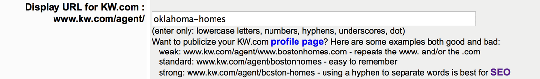 Display URL for KW.com Agent Profile
